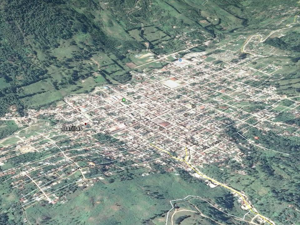 Mapa de Barillas, Huehuetenango, donde una turba retiene a tres presuntos delincuentes. (Foto Prensa Libre: Google Earth)