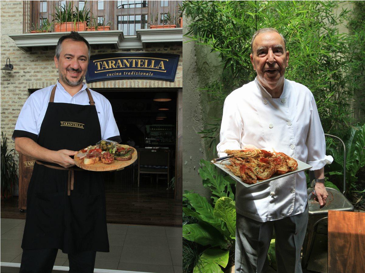 Mario Morilla, chef español, y Guiseppe Villari, chef italiano, presentan sus aperitivos para disfrutar de la final de la Champions League. (Foto Prensa Libre: Anna Lucía Ibarra).