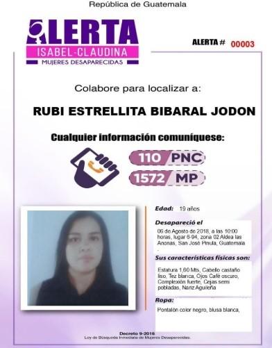 El tecer reporte de desaparición es de Rubi Estrellita Bibaral Jodon.(Foto Prensa Libre: MP)