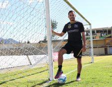 Diego Ruiz Golón luce con optimismo y muchas ilusiones en el Deportivo Marquense. El delantero confía en apoyar al equipo para evitar el descenso. (Foto Prensa Libre: Raúl Juárez)