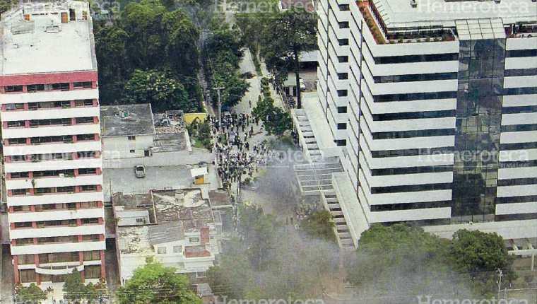 Centro Empresarial, zona 10, donde la turba retuvo a 900 personas. (Foto: Hemeroteca PL)