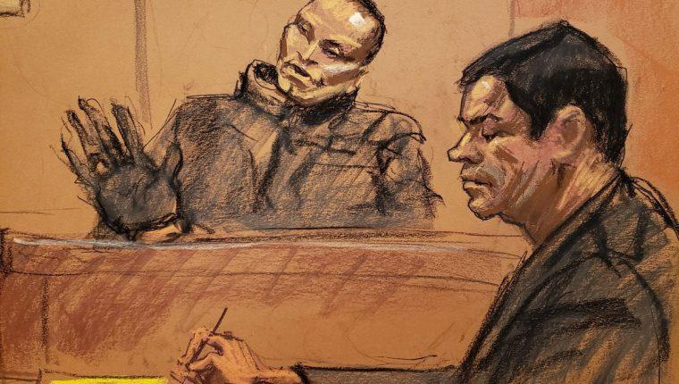 """Imagen artística de uno de los narcos más sanguinarios de Colombia, """"Chupeta"""" (izquierda), en su declaración contra """"el Chapo"""" (derecha). (Foto Prensa Libre: EFE)"""