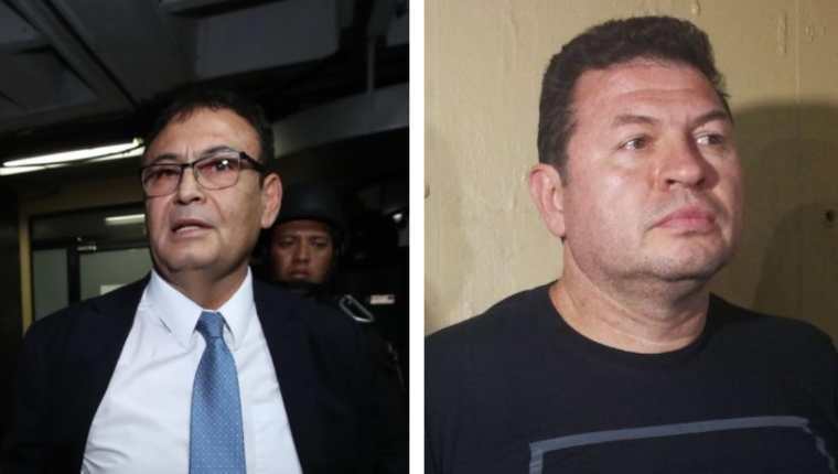 El magistrado Giovanni Orellana Donis Sergio y Roberto López Villatoro, conocido como el Rey del Tenis, fueron capturados este viernes. (Foto Prensa Libre: Érick Ávila)