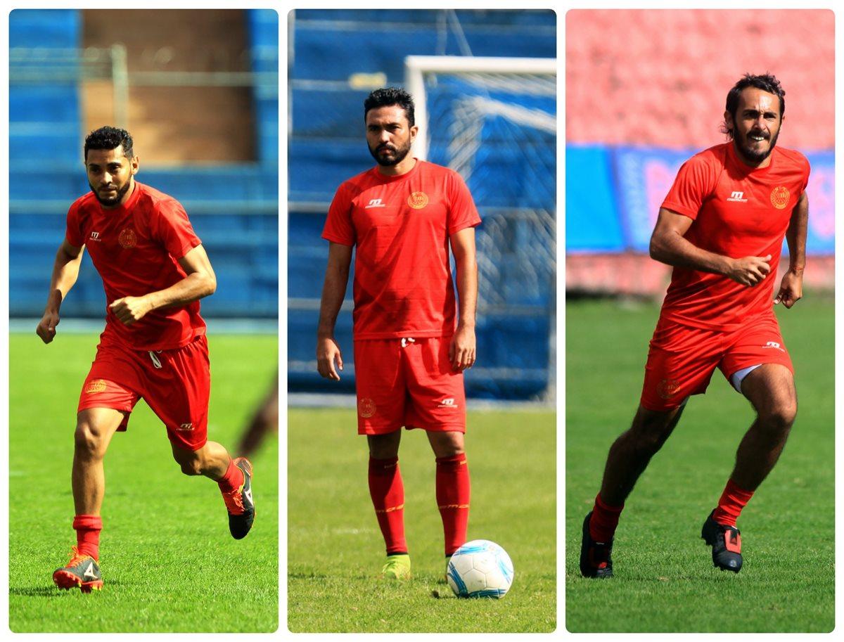 Danilo Guerra, Kamiani Félix y Gastón Puerari tienen como misión hacer festín de goles. (Foto Prensa Libre: Carlos Vicente)