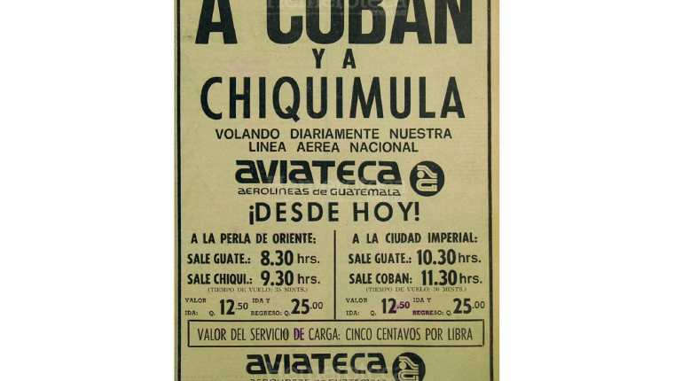 Vuelos de Aviateca rumbo a Cobán y Chiquimula. Foto: Hemeroteca PL