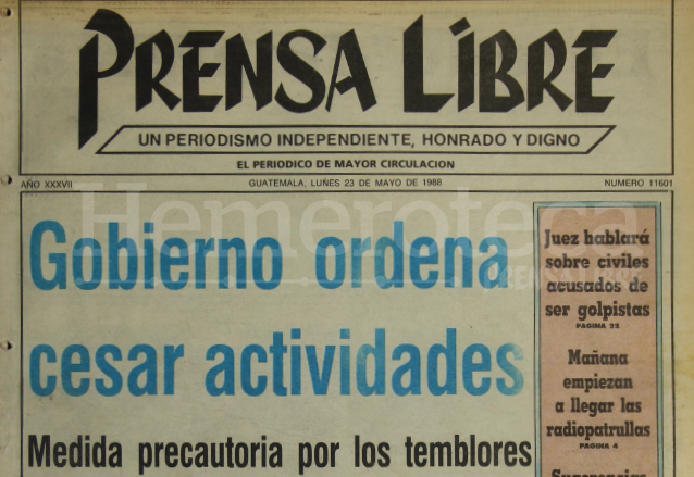1988: enjambre sísmico preocupa a los capitalinos