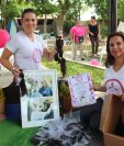 Organizadoras del evento muestran parte del cabello que fue donado, en Petén. (Foto Prensa Libre: Rigoberto Escobar)