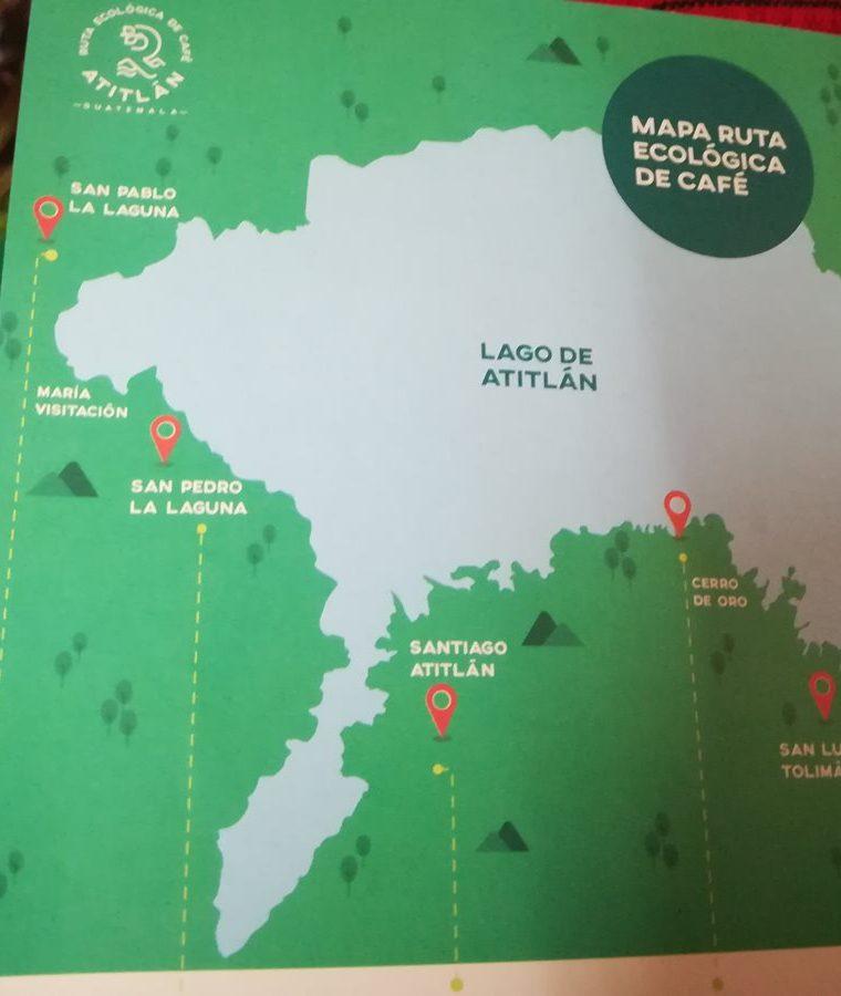Este el mapa donde se encuentras las seis rutas en cinco municipios de Sololá. (Foto Prensa Libre: Raúl Juárez)
