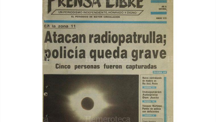 Portada de Prensa Libre del 12/7/1991 daba cobertura al eclipse total de sol. (Foto: Hemeroteca PL)