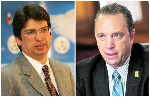 Rubén Morales, ministro de Economía, y Javier Zepeda, director ejecutivo de la CIG, con opiniones encontradas sobre el TLC con Corea. (Foto Prensa Libre: Hemeroteca PL)
