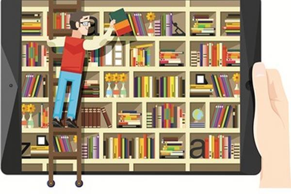 Los libros virtuales pueden bajarse desde cualquier dispositivo electrónico. (Ilustración Prensa Libre: Julio Lago M.)