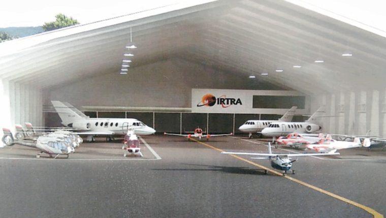 Maqueta del hangar que se construirá en el terreno en el norte de La Aurora, a la par de DHL. (Foto, Prensa Libre: Rosa María Bolaños).