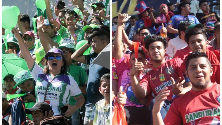 Las aficiones de Antigua y Municipal respondieron en el apoyo a sus equipos en los duelos de vuelta de las semis. (Foto Prensa Libre).