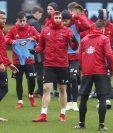 Los jugadores del Celta de Vigo en el entrenamiento de este miércoles previo al duelo con el Barcelona. (Foto Prensa Libre: Twitter Celta de Vigo)
