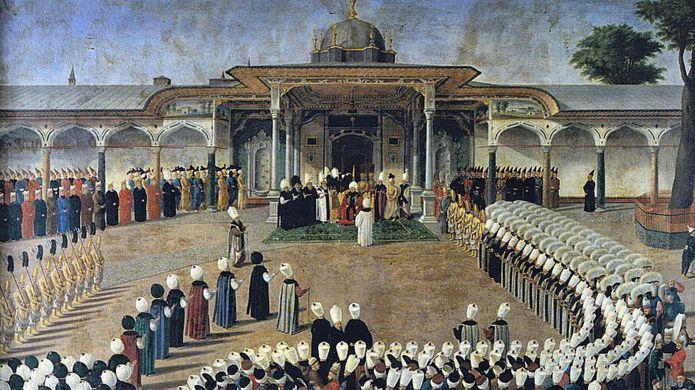 Sultán Selim III en una audiencia frente a la Puerta de la Felicidad. Los cortesanos están reunidos en un protocolo estricto. Topkap? Saray? Müzesi, Estambul (Foto de la obra: Konstantin Kap?da?l?)
