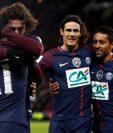 Los jugadores del PSG celebran después de abrir el marcador con el gol de Andrien Rabiot. (Foto Prensa Libre: EFE)