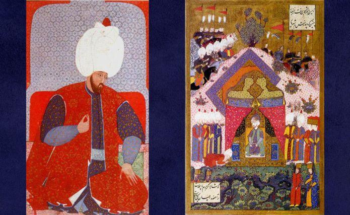 Solimán joven (derecha) y el sultán recibiendo a un embajador (izquierda) en una pintura de Matrakç? Nasuh.