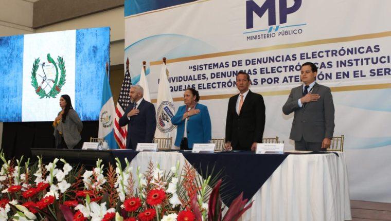 La presentación del sistema electrónico de denuncias se realizó este lunes en la sede del MP. (Foto Prensa Libre: MP)
