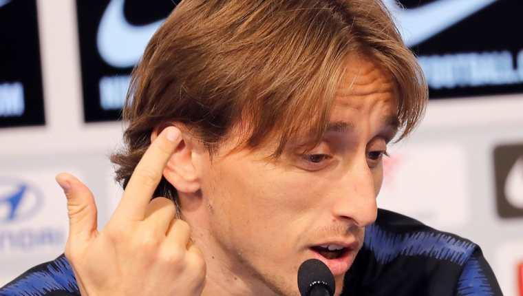Luka Modric, en conferencia de prensa con la Selección de Croacia. (Foto Prensa Libre: EFE)