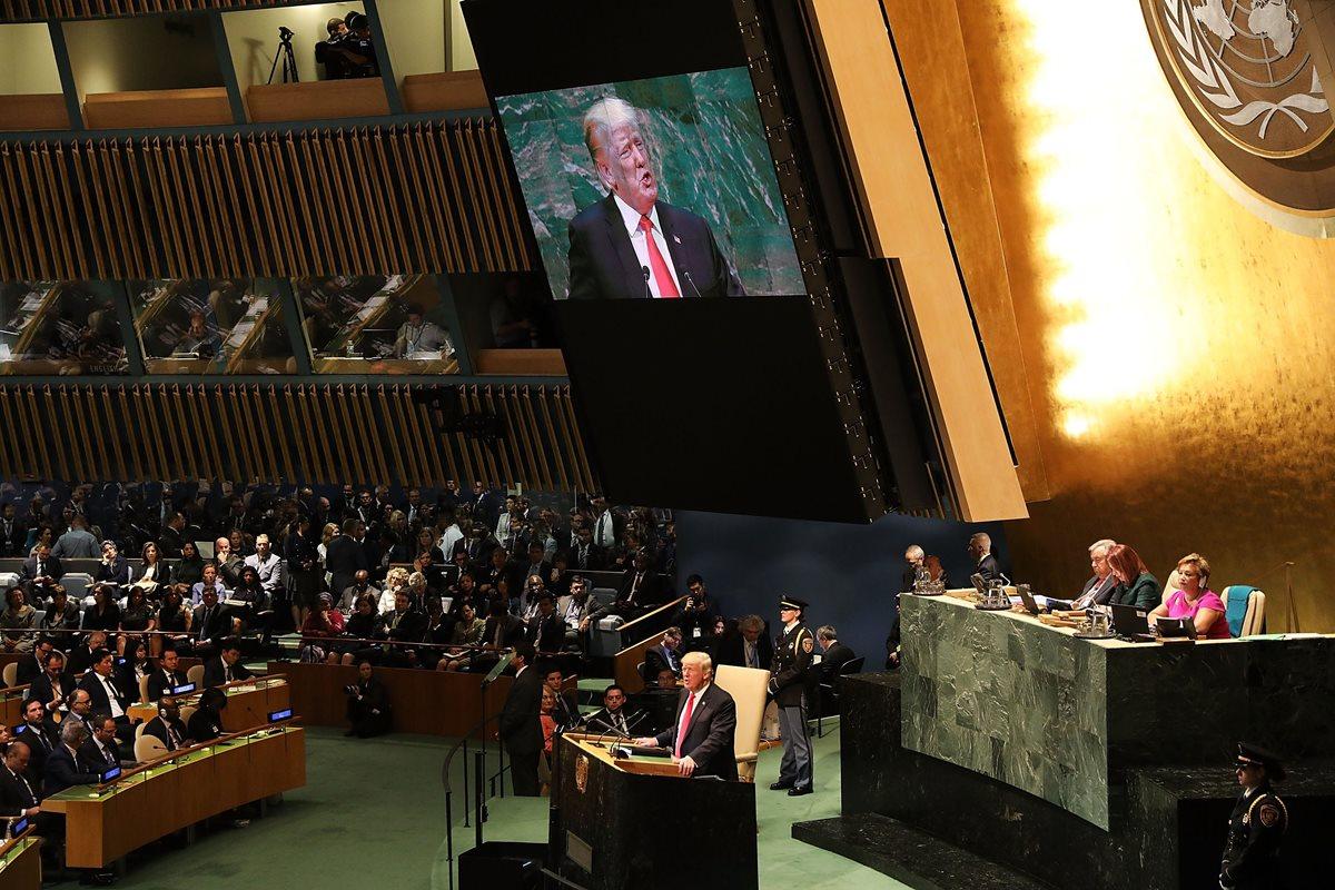 El presidente de los Estados Unidos Donald Trump se refirió a varios temas durante su discurso en la Asamblea General de la ONU en Nueva York. (Foto Prensa Libre: AFP)
