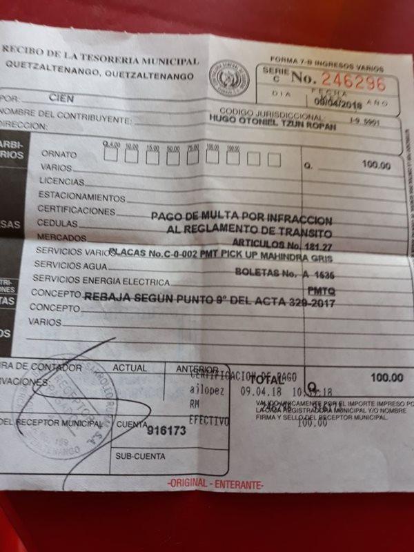 Debido a un acuerdo municipal, las multas de tránsito tienen descuento del 50 por ciento. (Foto Prensa Libre: Fred Rivera)