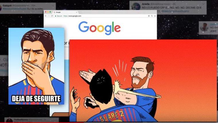 El comercial aborda de diferentes situaciones, como sería si Suárez y Messi rompen con su amistad. (Foto Prensa Libre: Captura de Pantalla Youtube)