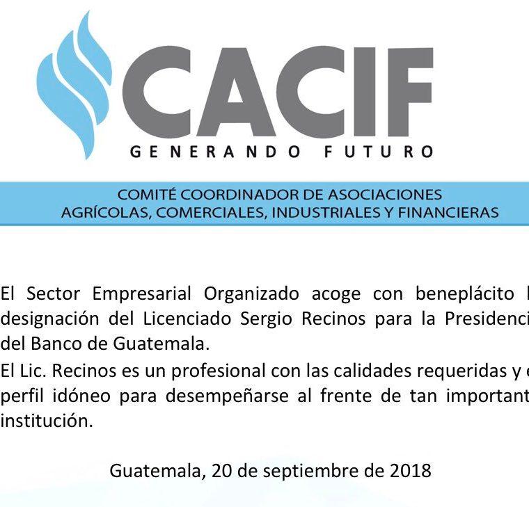 El comunicado del Cacif fue divulgado por redes sociales. (Foto, Prensa Libre: Twitter).