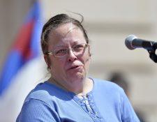 <em>Kim Davis, de confesión cristina, no será liberada hasta que obedezca al Supremo. (Foto Prensa Libre: AP).</em>