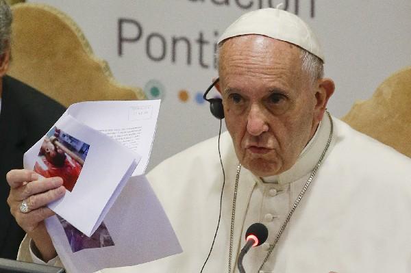 El Papa participa en el sexto Congreso Mundial de la red Scholas Ocurrentes.(AP).