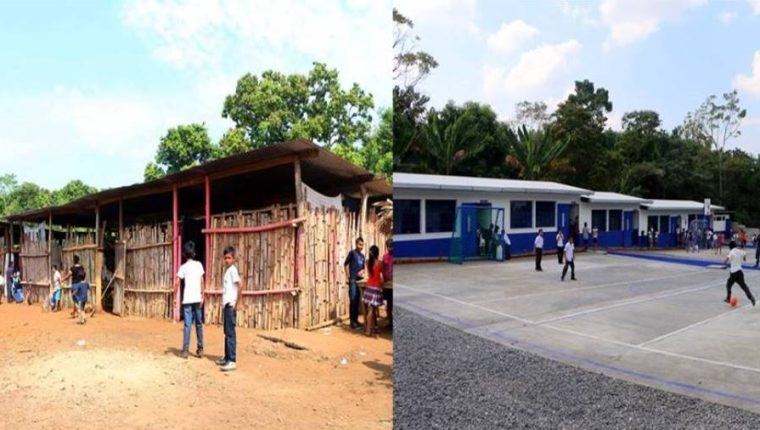 El antes y el después de la Escuela Oficial Rural Mixta del Sector Vuelta El Mango. (Foto Prensa Libre: Rolando Miranda).