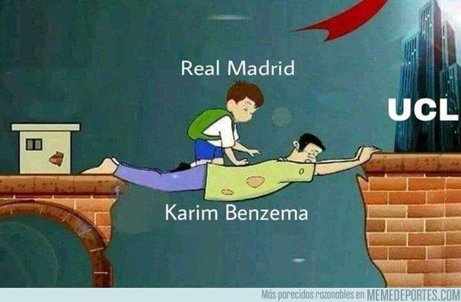Karim Benzema sigue siendo víctima de los memes, en la Champions League. (Foto Prensa Libre: Twitter)