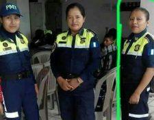 Jacinta Lem – de la derecha- es la agente que sufrió el accidente tránsito. (Foto Prensa Libre: Cortesía).