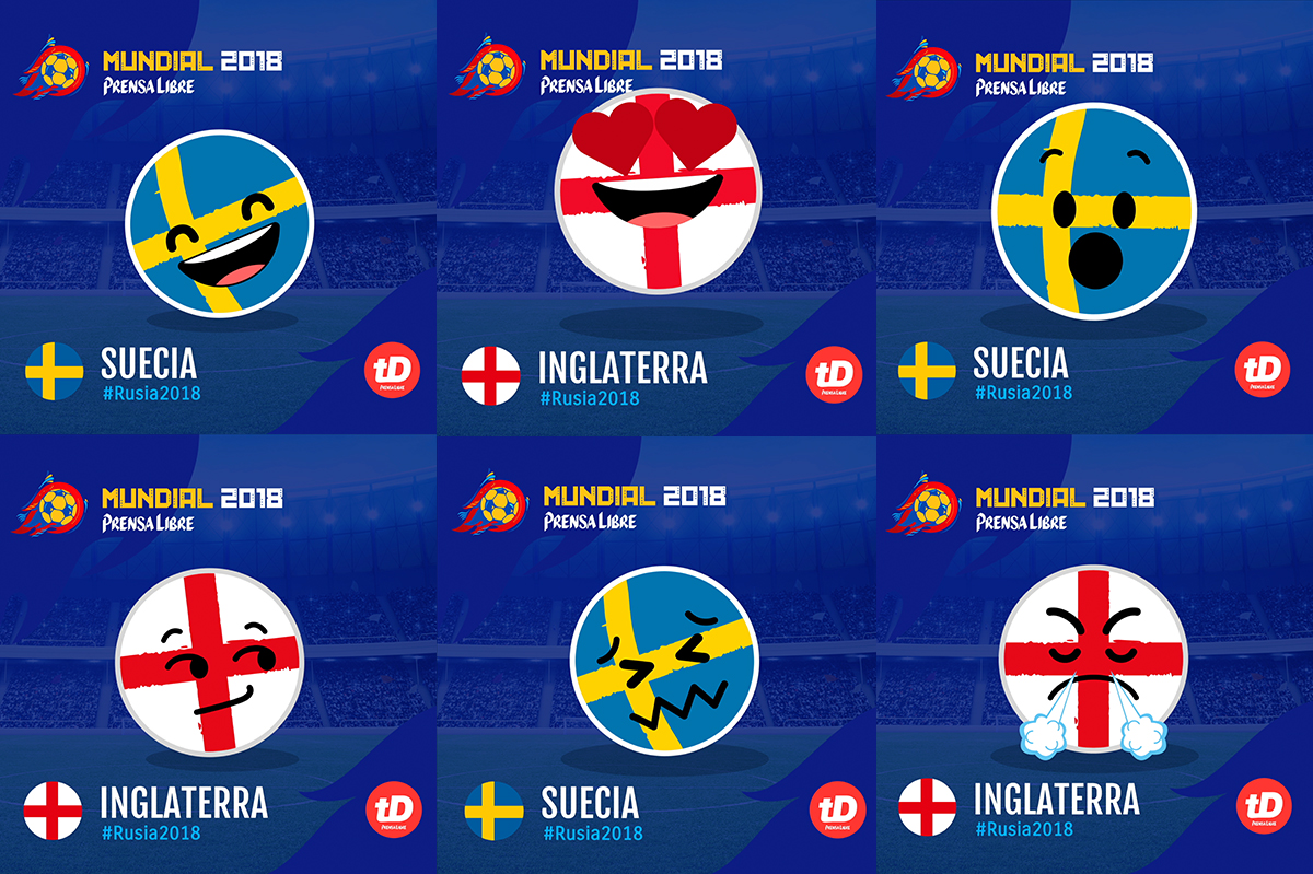 Suecia vs Inglaterra en Gif. Diviértase y comparta estos emoticones de los cuartos de final