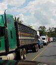 Una larga fila de vehículos de carga se observa en la ruta a Petén y Puerto Barrios por el bloqueo en La Ruidosa, Morales. (Foto Prensa Libre: Dony Stewart)