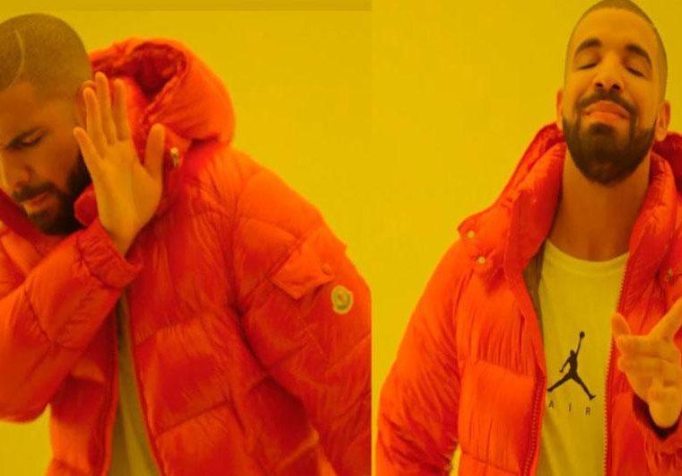 Drake también es famoso por ser el protagonista de este meme, el cual es utilizado por los usuarios para hacer referencia a algo que les gusta y algo que les desagrada. (Tomada de internet).