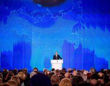 Vladímir Putin, pronuncia su discurso anual sobre el estado de la nación en Moscú, Rusia.(Foto Prensa Libre:AFP).