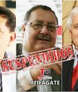 Los exdirigentes guatemaltecos Brayan Jiménez, Rafael Salguero y Héctor Trujillo quedan fuera de toda actividad del futbol. (Foto Prensa Libre: Hemeroteca)