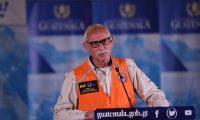 Sergio Cabañas, secretario de Conred, en conferencia de prensa. (Foto Prensa Libre: Esbin García)