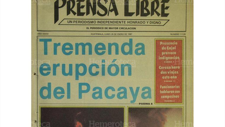 Portada de Prensa Libre del 26/1/1987 informa sobre una de las más feroces erupciones del volcán de Pacaya en 30 años, visible desde el centro de la capital. (Foto: Hemeroteca PL)