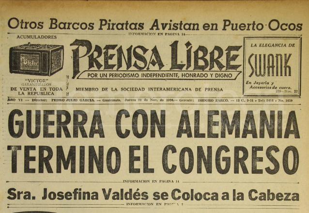 1956: Guatemala termina la guerra con Alemania