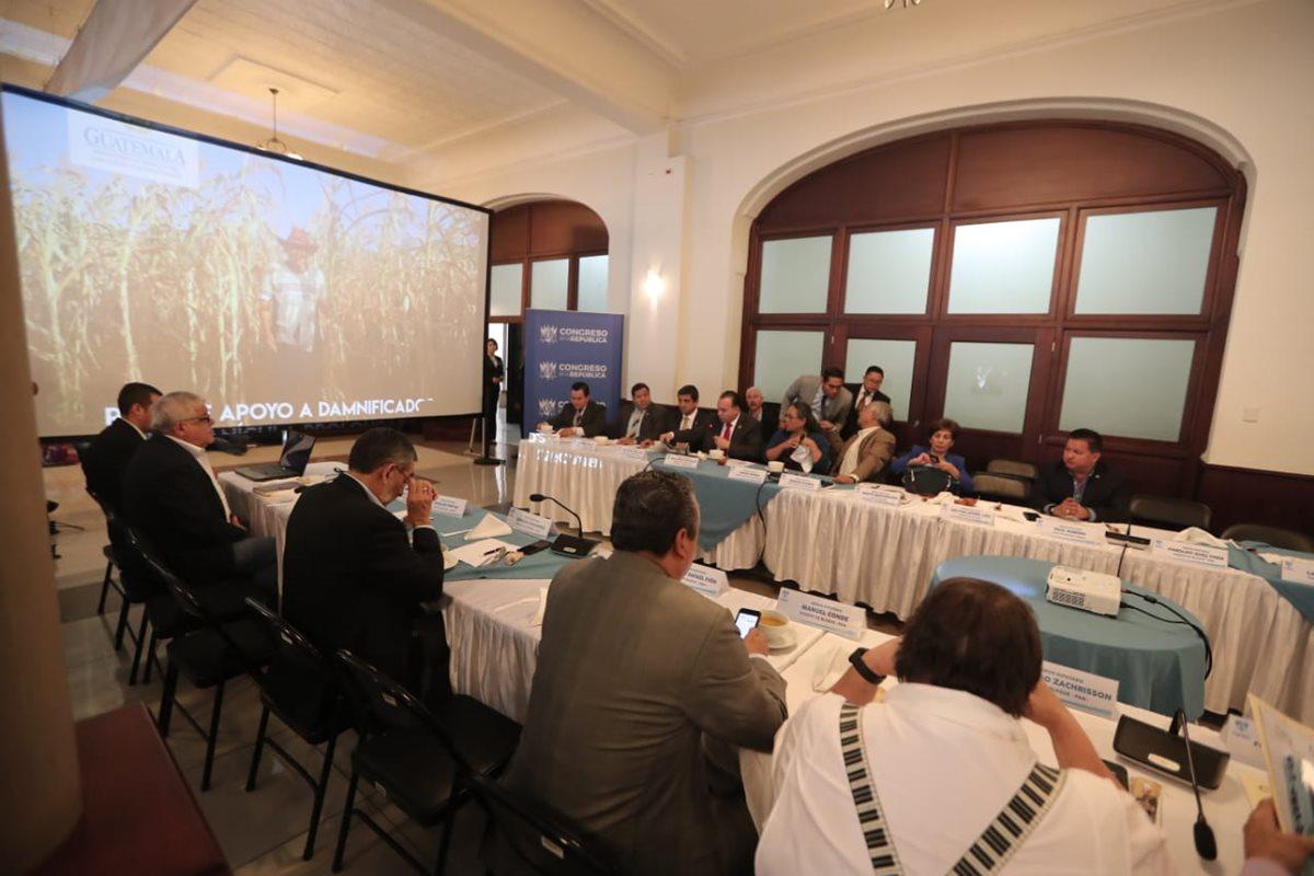 El ministro de Agricultura Mario Méndez-Montenegro, expuso a los diputados el estado actual del país por la canícula prolongada. (Foto Prensa Libre: Juan Diego González)