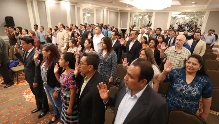 Acto de juramentación de las Juntas Electorales Municipales. (Foto Prensa Libre: Esbin García)
