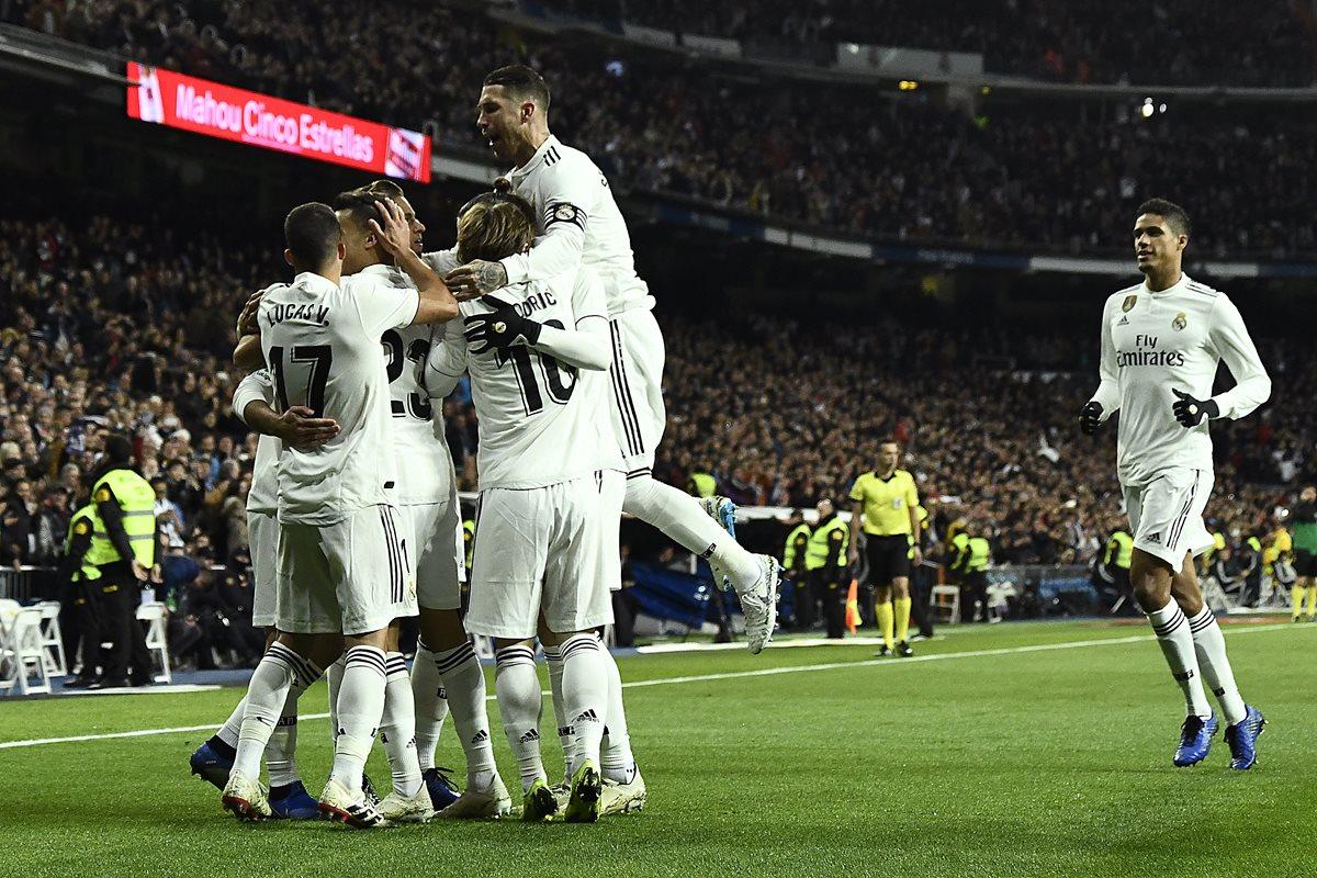 Así celebraron la victoria los jugadores del Real Madrid. (Foto Prensa Libre: AFP)