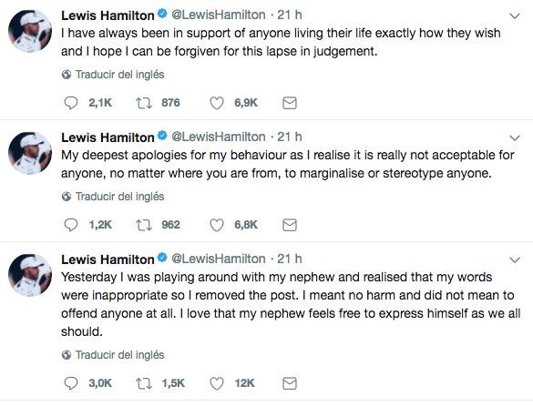 Así ofreció disculpas Lewis Hamilton en twitter. (Foto Prensa Libre: Twitter @LewisHamilton)