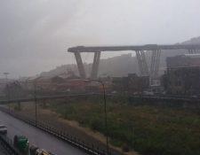 La policía publicó esta foto del puente después del colapso. POLIZIA DI STATO