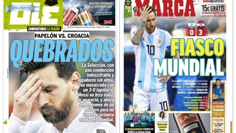 La prensa mundial no perdonó el fracaso de Argentina. (Foto Prensa Libre)