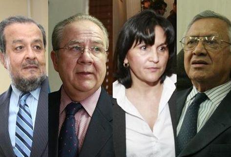 Magistrados titulares electos a la CC: Mauro Chacón, por la Usac;    Roberto Molina, por la CSJ; Gloria Porras, por la Presidencia, y   Alejandro Maldonado, por el Congreso.