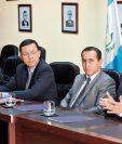 Víctor Aguilar, viceministro de Minería, el ministro Juan Pelayo Castañón, Luis Chang, viceministro de Energía, y Roberto Velásquez, viceministro de Desarrollo Sostenible.