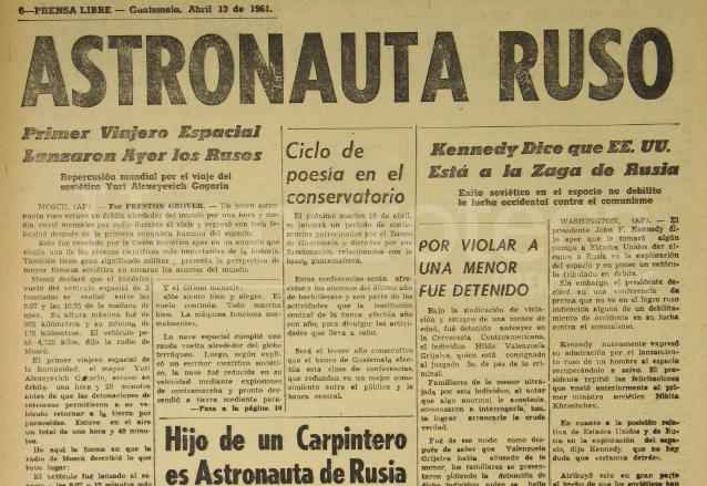 Nota de Prensa Libre del 13 de abril de 1961 informando sobre la hazaña soviética en el espacio. (Foto: Hemeroteca PL)