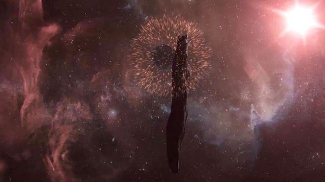 La manera en que Oumuamua se tambalea sugiere que estuvo involucrado en una colisión espacial, según esta ilustración artística.